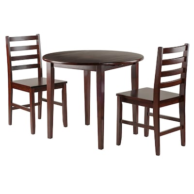 Winsome Wood Clayton Walnut Dining Set with Round Table at ...