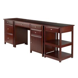 Winsome Wood Delta 3 Piece Walnut Transitional Home Office Furniture Set
