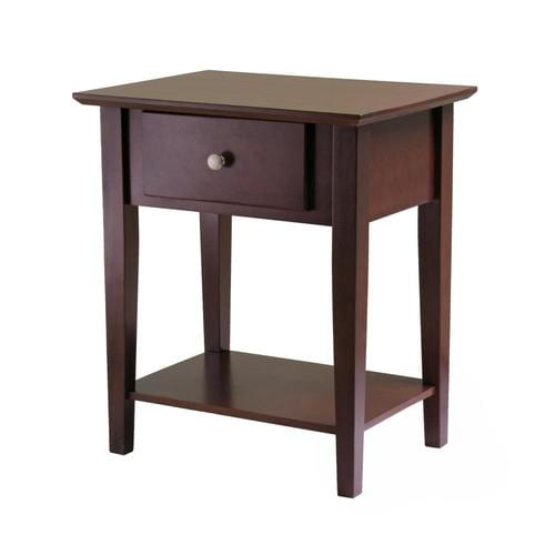 WINSOME WOOD NIGHT STAND ACCENT TABLE WITH DRAWER AND CABINET FOR STORAGE WALNUT