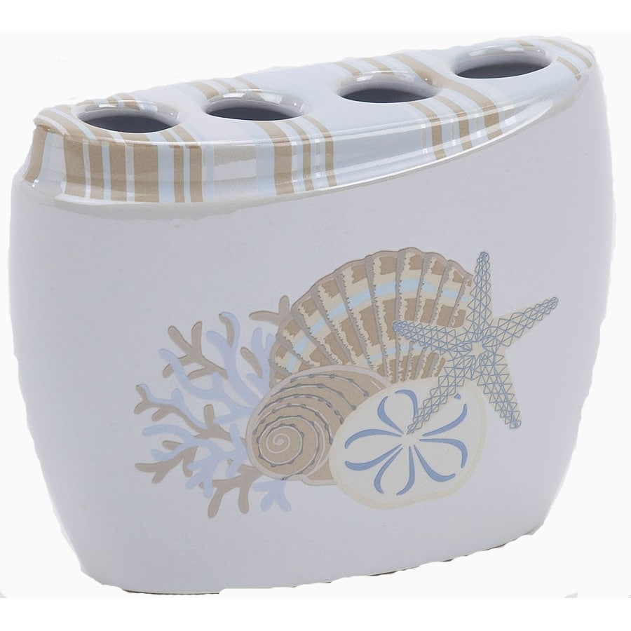 Avanti By the Sea White Ceramic Toothbrush Holder