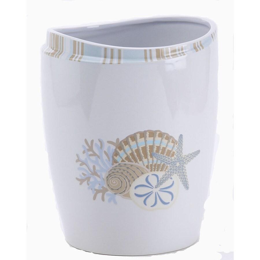 Avanti By The Sea White Ceramic Wastebasket
