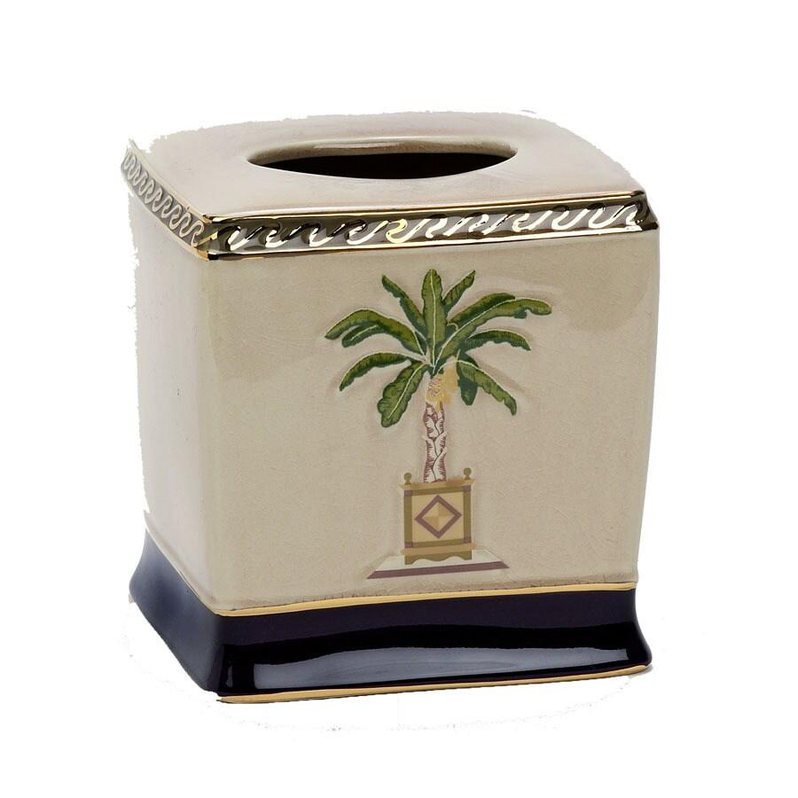 Avanti Banana Palm Linen Ceramic Tissue Holder