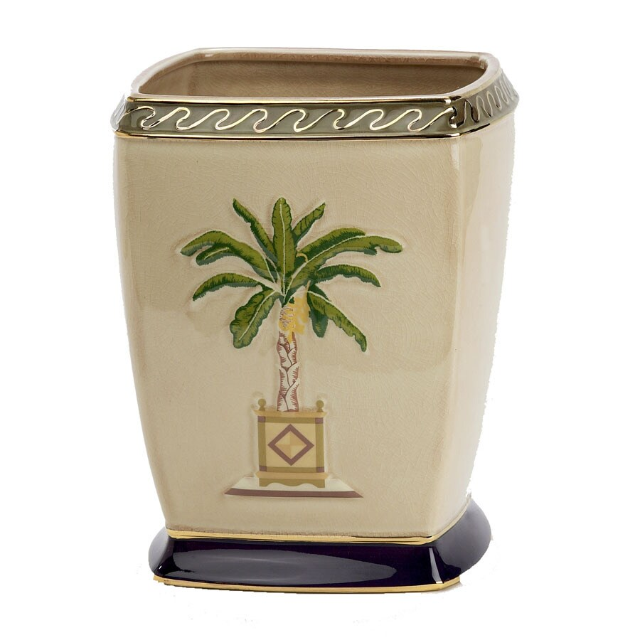 Avanti Banana Palm Linen Ceramic Wastebasket