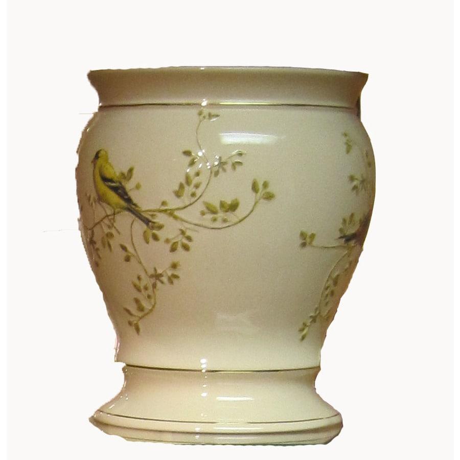 Avanti Gilded Birds Ivory Ceramic Wastebasket