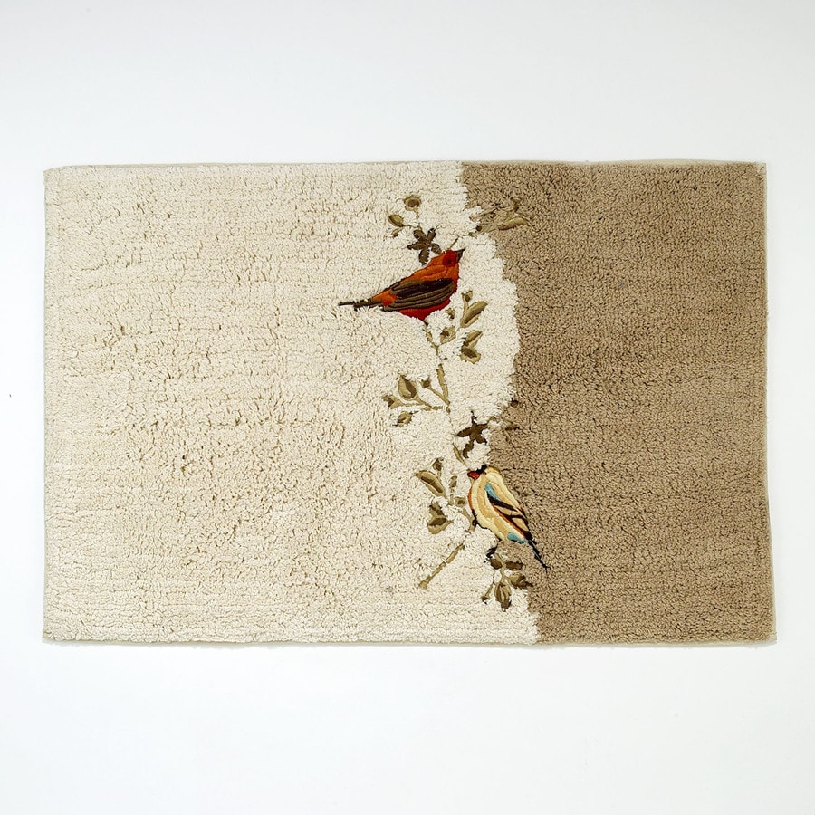 Avanti Gilded Birds 20-in x 30-in Ivory Cotton Bath Rug