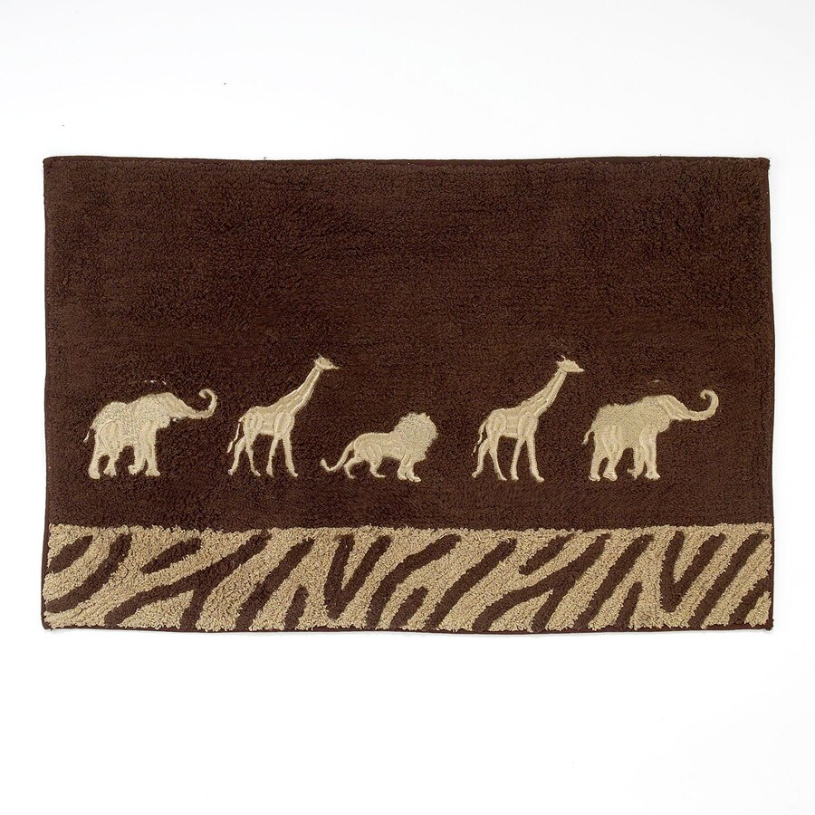 Avanti Animal Parade 20-in x 30-in Mocha Cotton Bath Rug