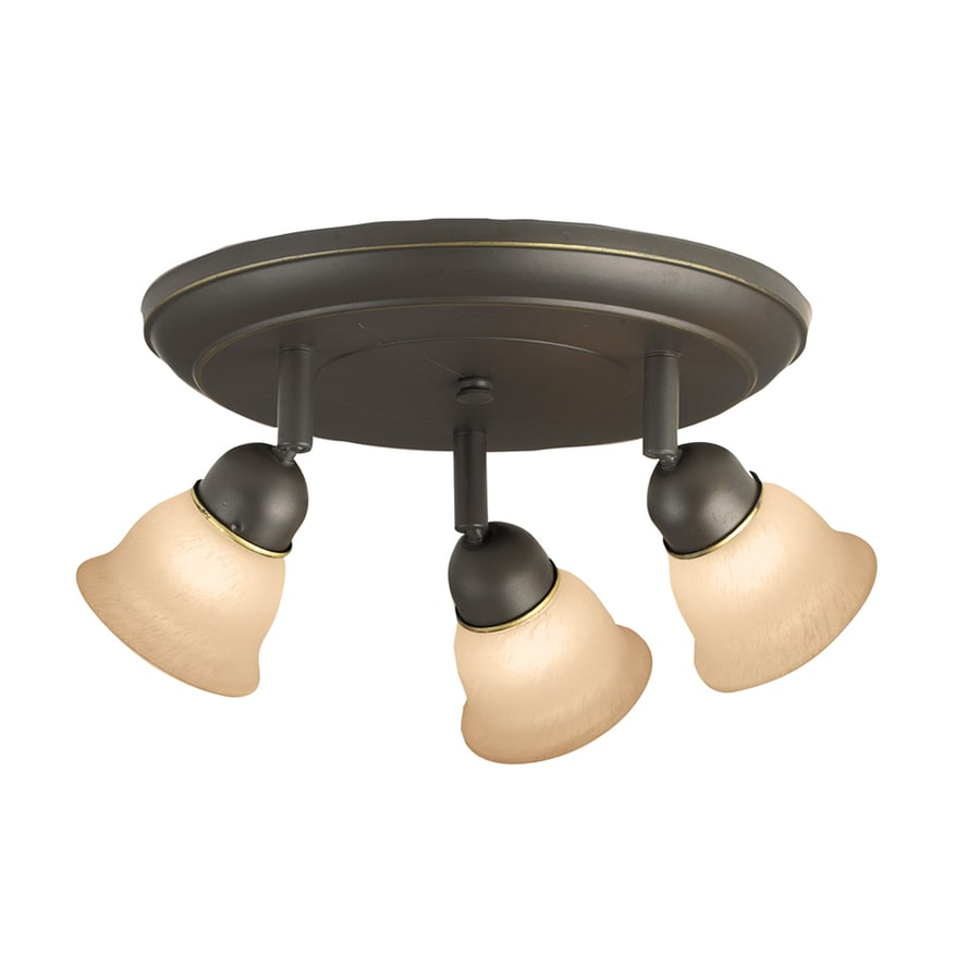 Portfolio Villa 3-Light 9.84-in Aged Bronze Dimmable Flush-Mount Fixed Track Light Kit