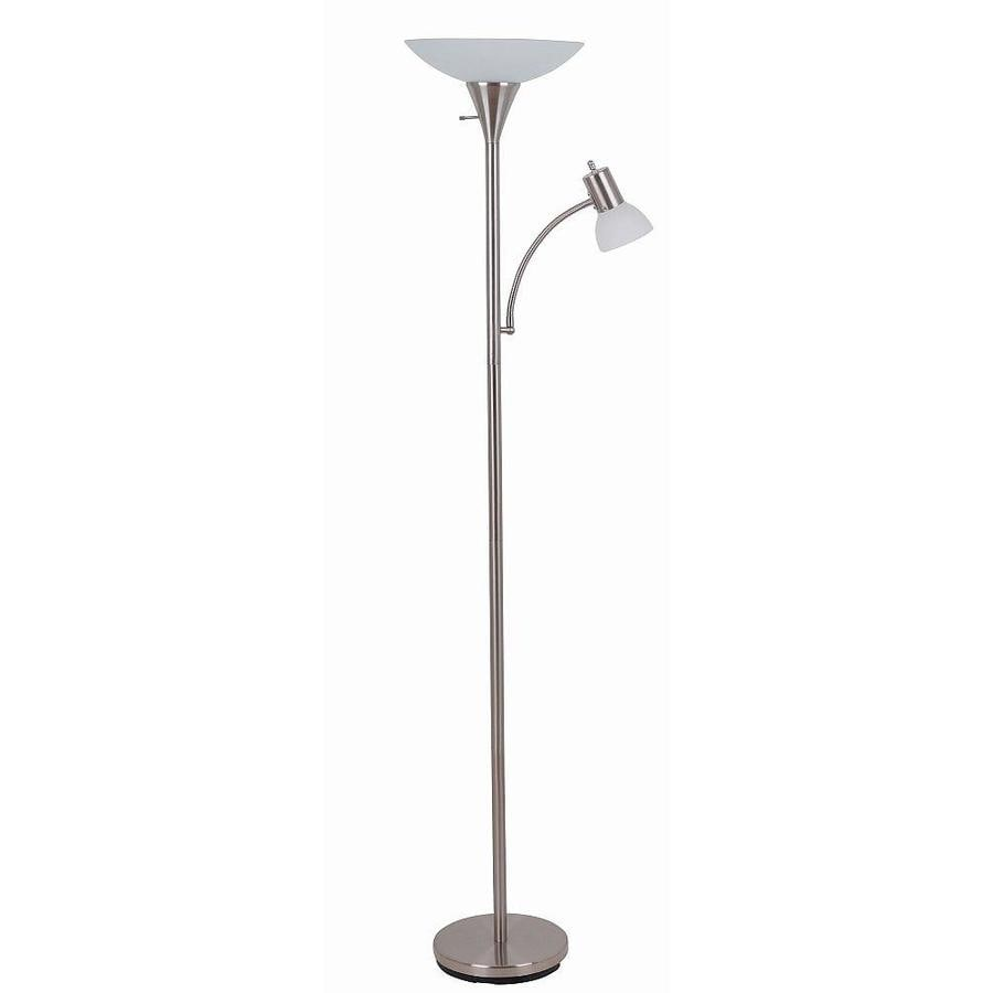 shop catalina 707 in brushed steel 3 way torchiere with With floor lamp with reading light and glass steel shades