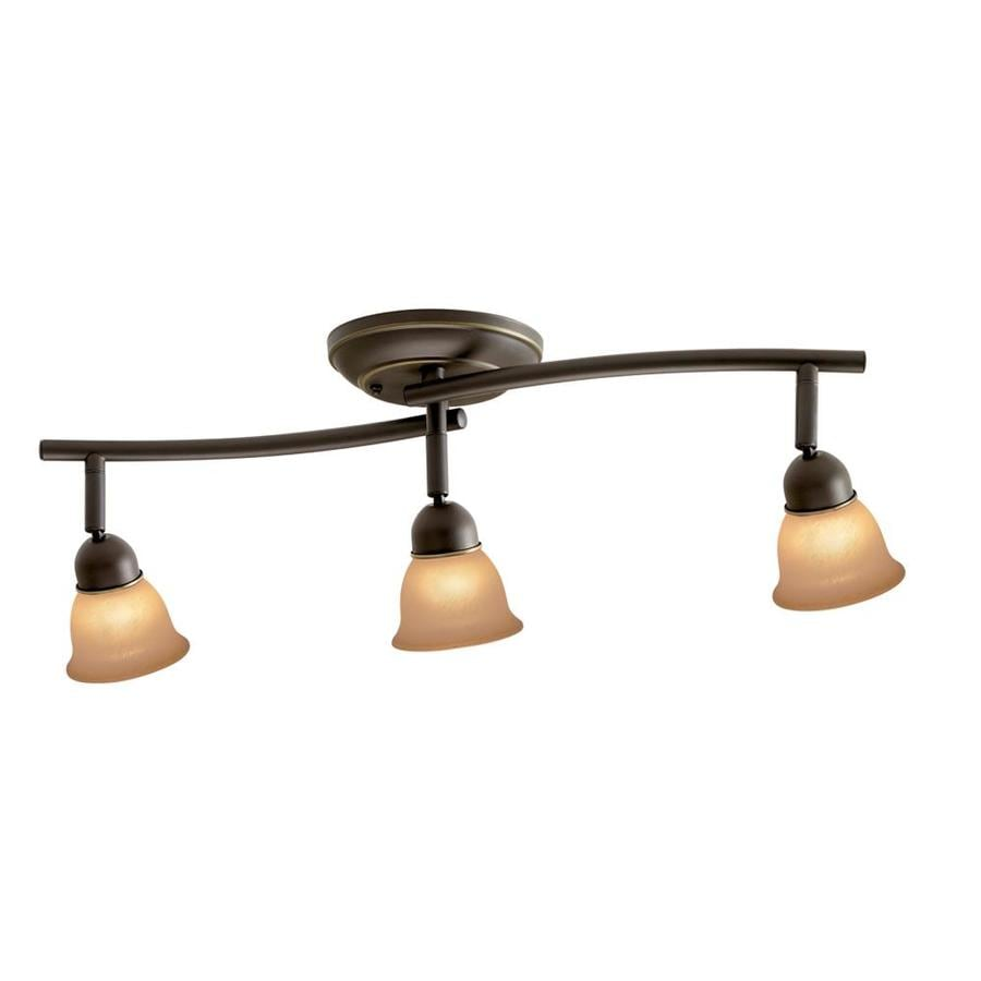 Shop fixed track lighting kits at lowes portfolio villa 3 light 225 in aged bronze dimmable fixed track light kit aloadofball
