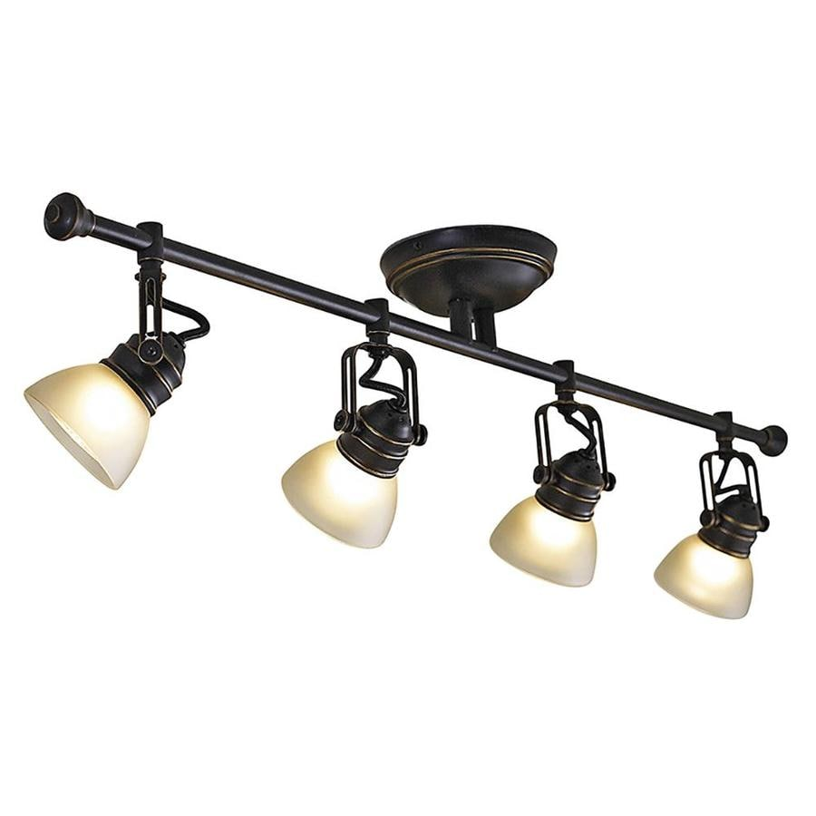 how to track lighting. Allen + Roth Tucana 4-Light 34.75-in Oil Rubbed Bronze Dimmable Fixed Track How To Lighting