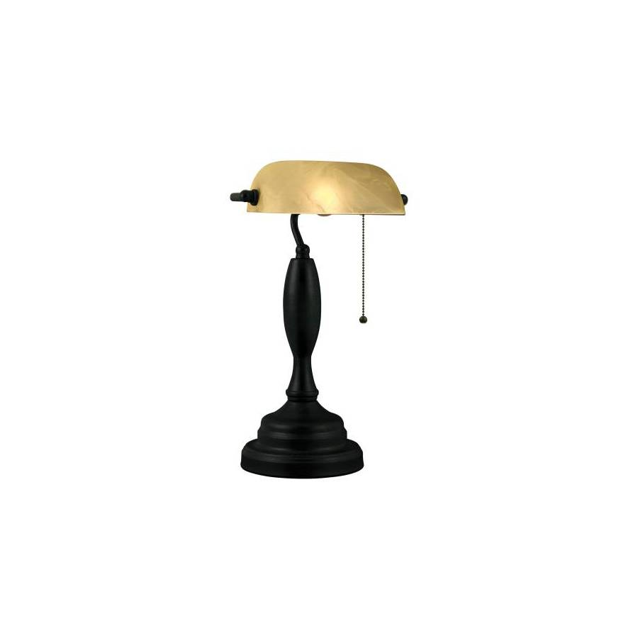 Portfolio 18-in Bronze Desk Lamp with Glass Shade