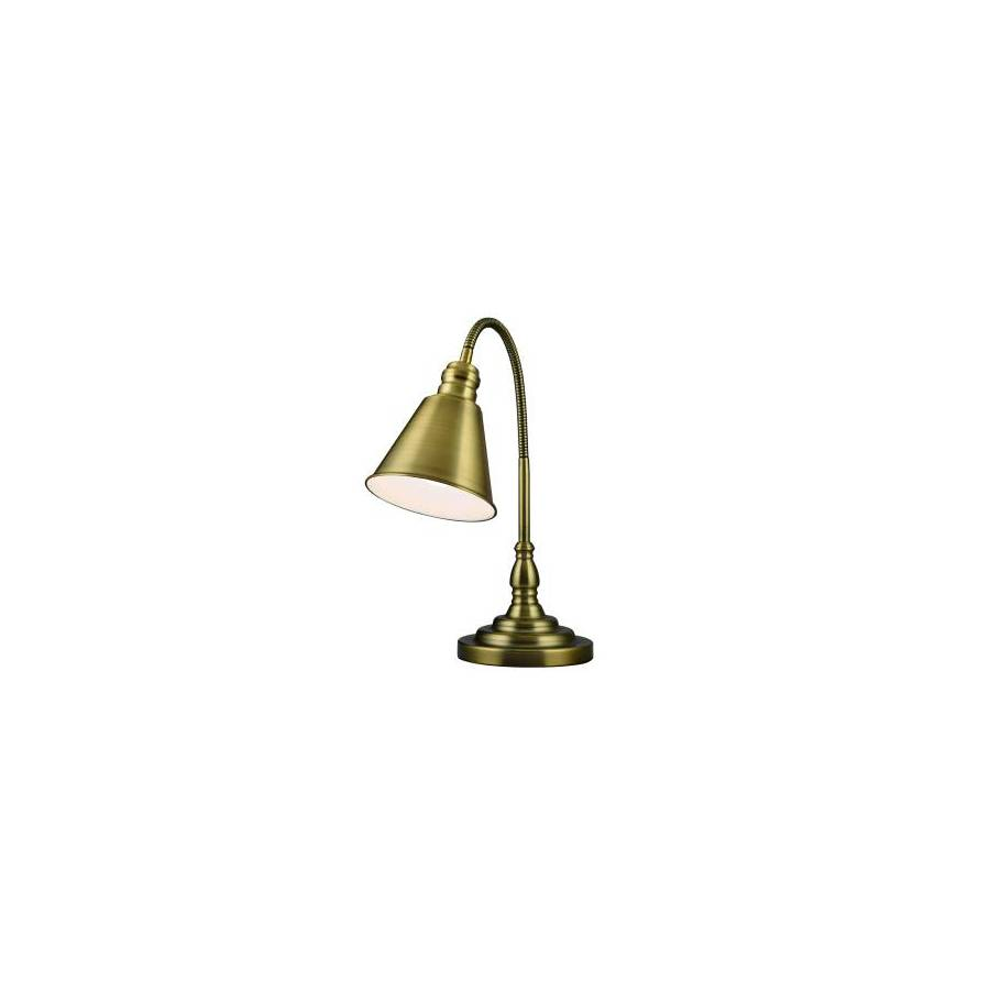 Portfolio 20.39-in Adjustable Antique Brass Desk Lamp with Metal Shade