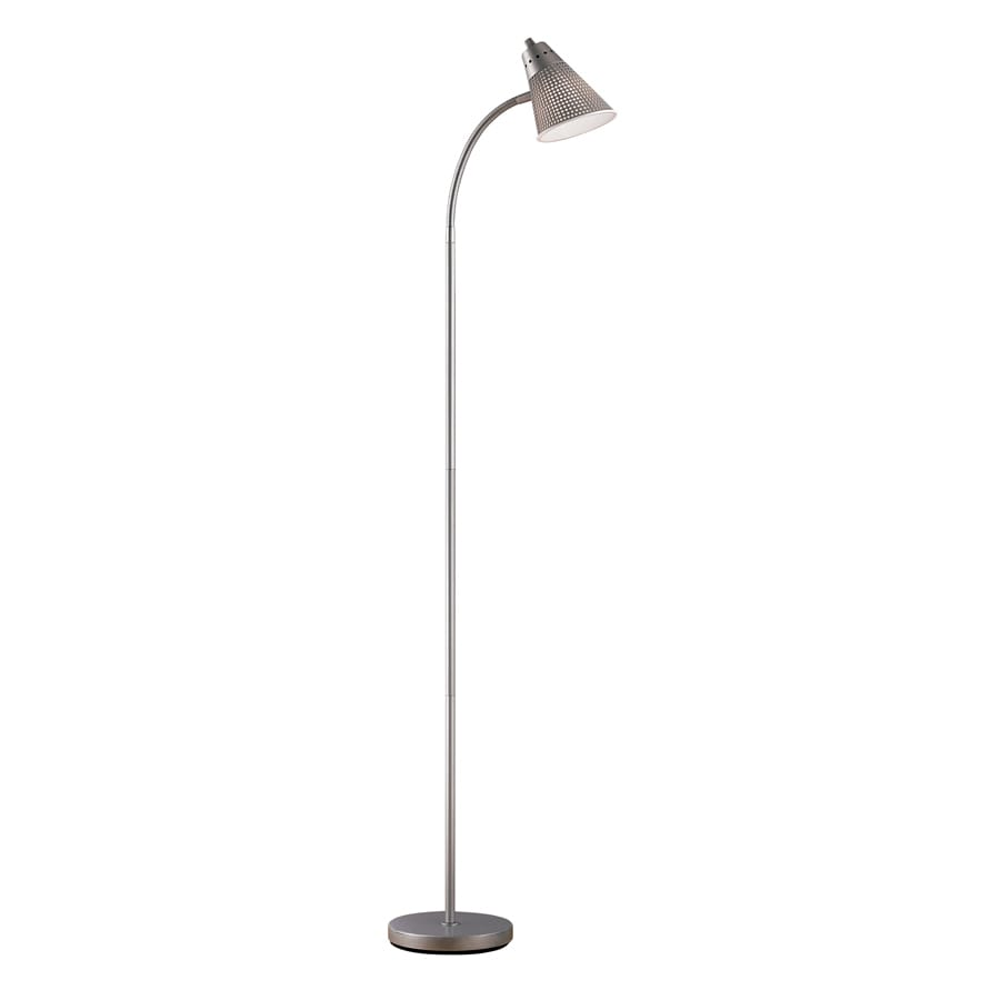 Portfolio 59-in Silver Indoor Floor Lamp with Plastic Shade