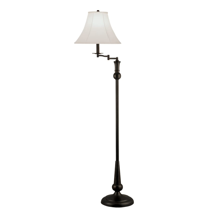 Portfolio 61-in Bronze Indoor Floor Lamp with Fabric Shade