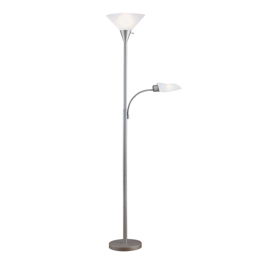 Portfolio 71-in 3-Way Switch Silver Torchiere with Side-Light Indoor Floor Lamp with Plastic Shade