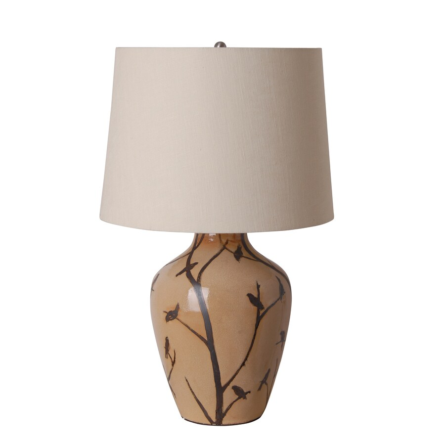 Catalina 23.75-in 3-Way Beige Indoor Table Lamp with Fabric Shade