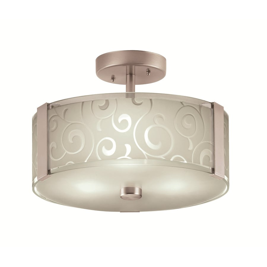 Portfolio 13.2-in W Nickel Etched Glass Semi-Flush Mount Light