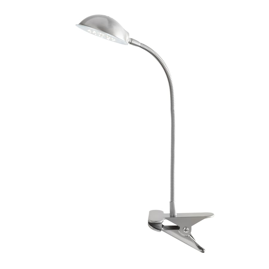 Style Selections 15-in Adjustable Brushed Steel Casual/Transitional Integrated Clip-On Desk Lamp with Metal Shade