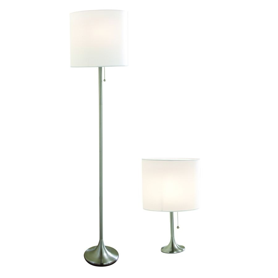 Style Selections 2-Piece Silver Lamp Set with Fabric Shades
