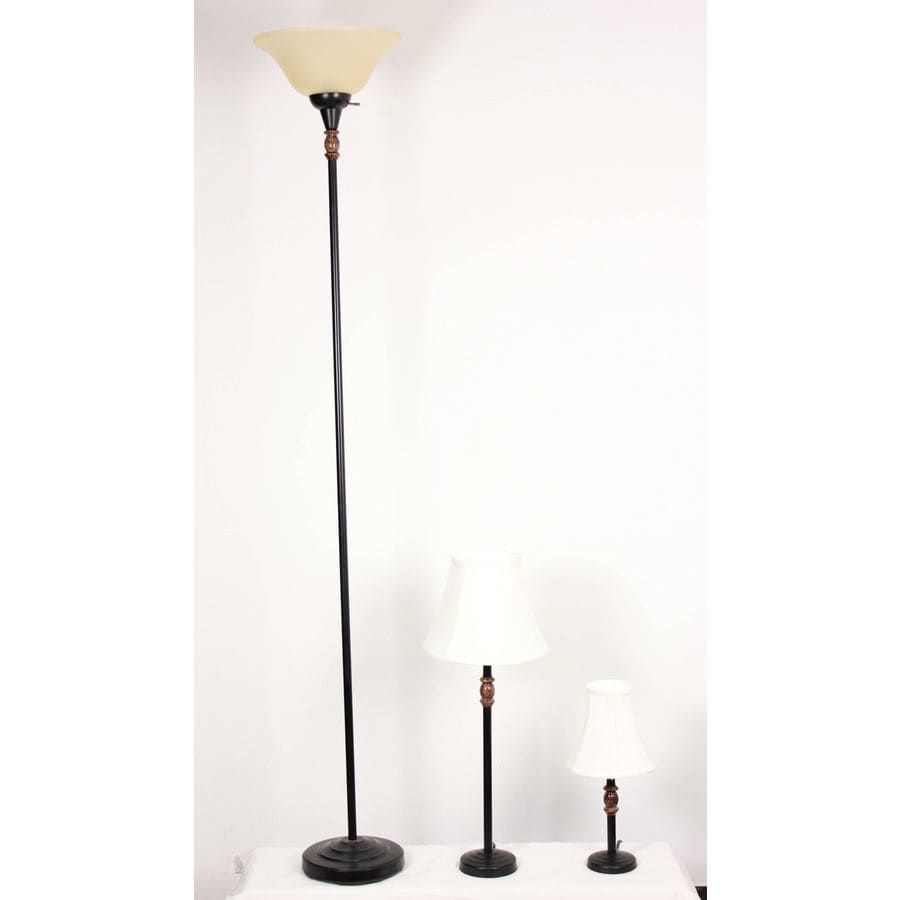 Style Selections 3-Piece Brown Lamp Set with Fabric Shades