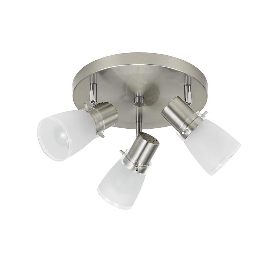 Shop fixed track lighting kits at lowes portfolio montgomery 3 light 10 in brushed steel dimmable flush mount fixed track light aloadofball