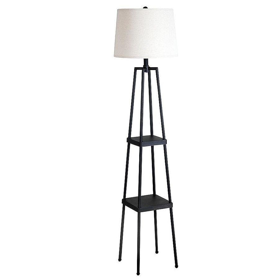 Shop catalina 58 in distressed iron 3 way shelf table for Distressed metal floor lamp