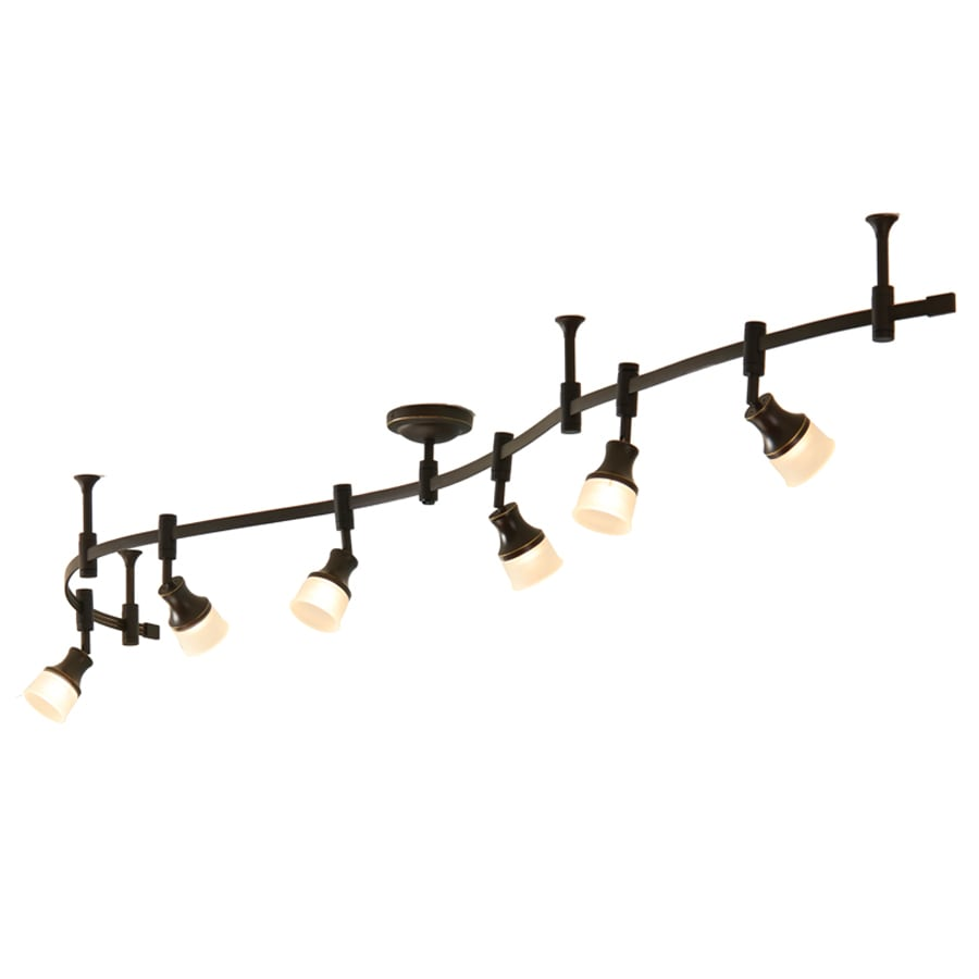 shop allen roth 6 light 96 in bronze dimmable flexible track light with fro. Black Bedroom Furniture Sets. Home Design Ideas