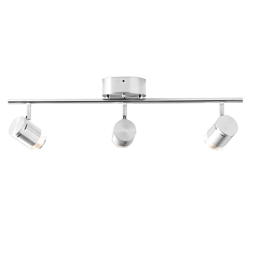 Style Selections Leyden 3-Light 29.76-in Brushed Nickel Dimmable Integrated Fixed Track Light Kit
