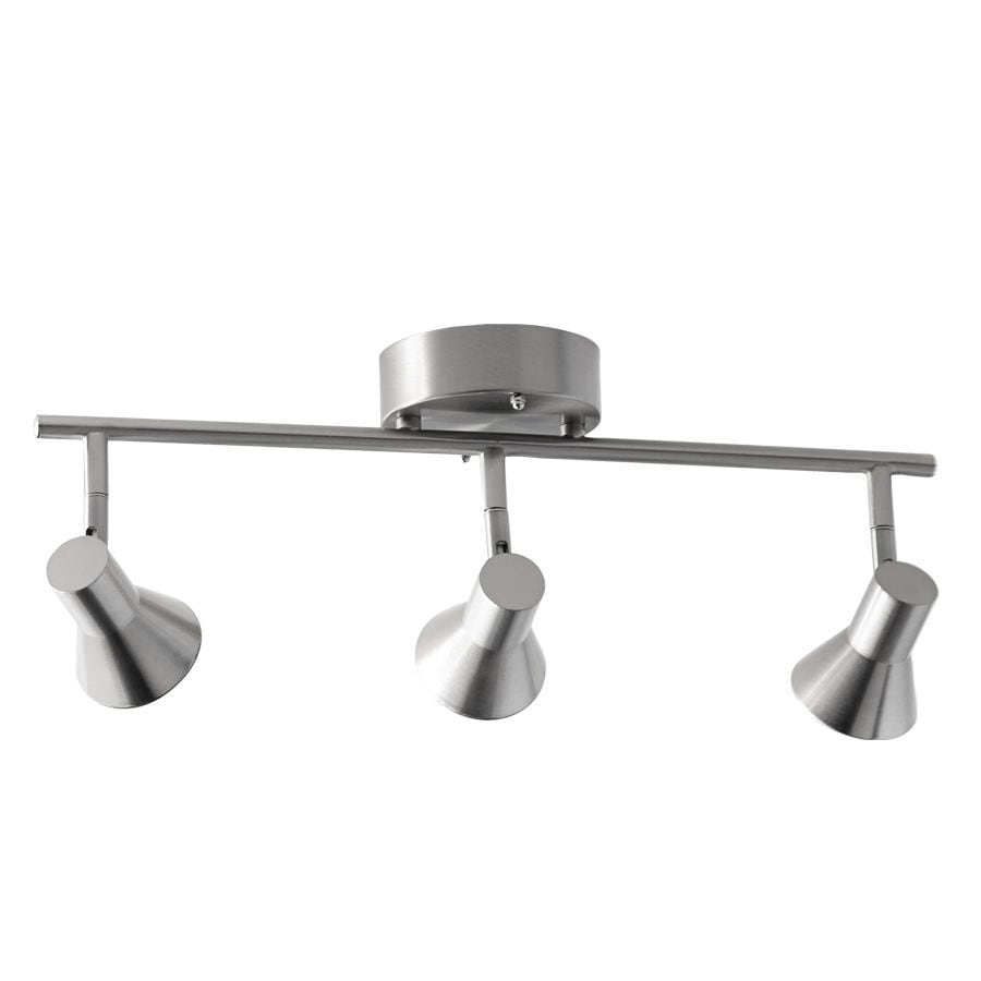 Style Selections Seekott 3-Light 19.09-in Brushed Nickel Dimmable Integrated Fixed Track Light Kit