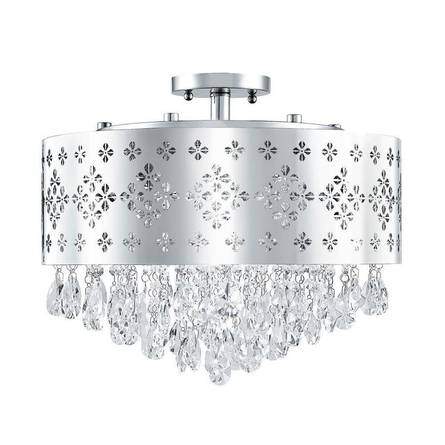 Portfolio 18-in W Chrome Metal Semi-Flush Mount Light