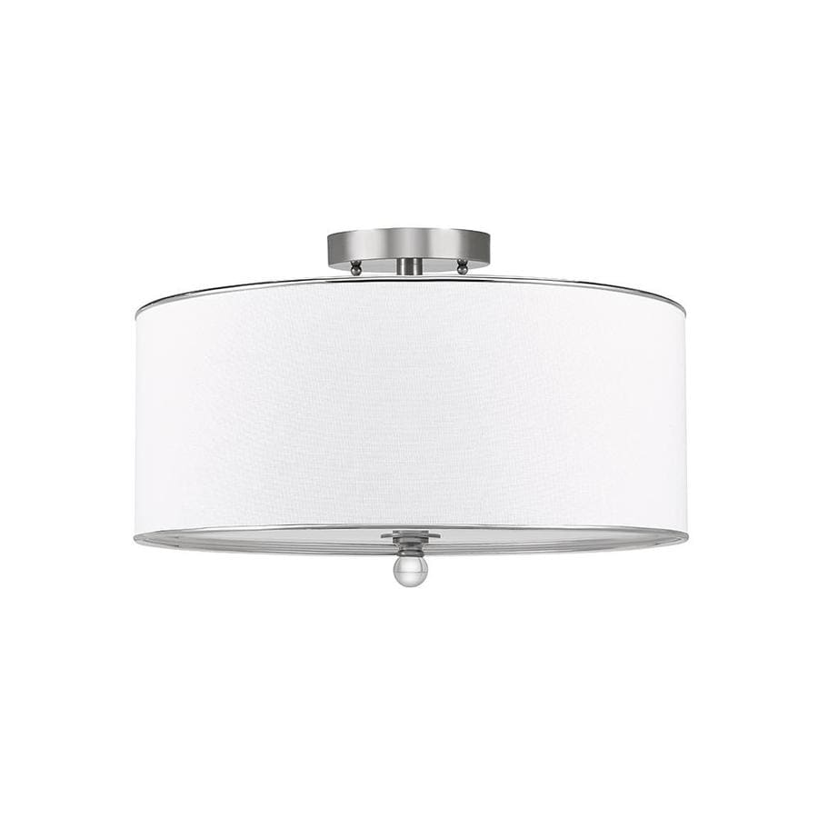 Catalina 18-in W Brushed Nickel Fabric Semi-Flush Mount Light