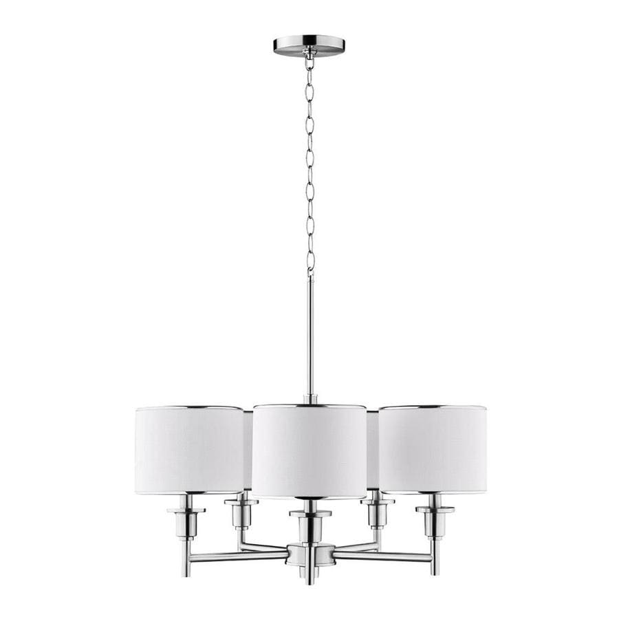 Catalina 26-in 5-Light Brushed Nickel Country Cottage Shaded Chandelier