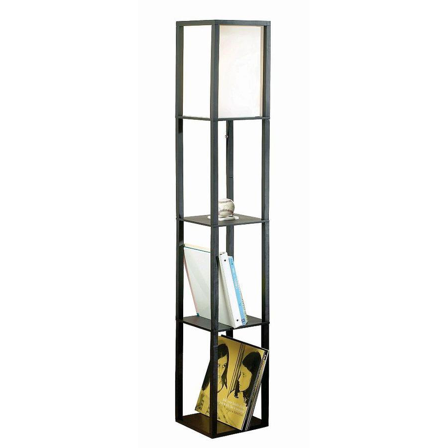 Catalina Black Wooden Floor Lamp with Shelves