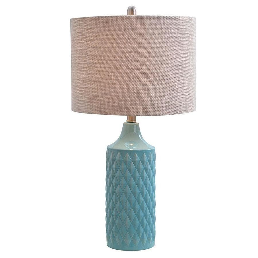 Catalina 26.5-in Spa blue Table Lamp with Linen Shade