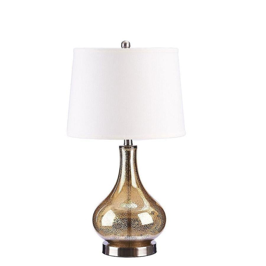 Catalina 24 In Gold Mercury 3 Way Table Lamp With Linen Shade At