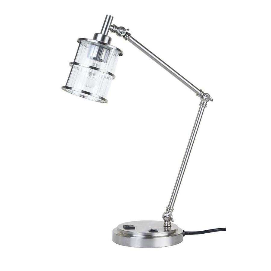 shop catalina kenross 23 5 in adjustable brushed nickel swing arm desk lamp with glass shade at. Black Bedroom Furniture Sets. Home Design Ideas