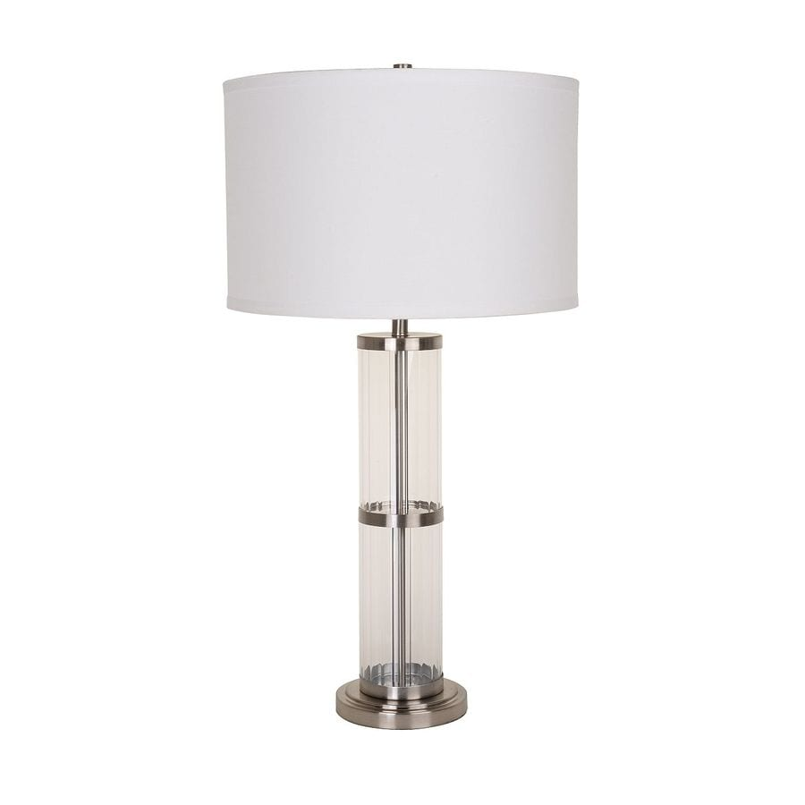 Catalina Kenross 31-in Brushed Nickel Electrical Outlet On/Off Switch Table Lamp with Fabric Shade