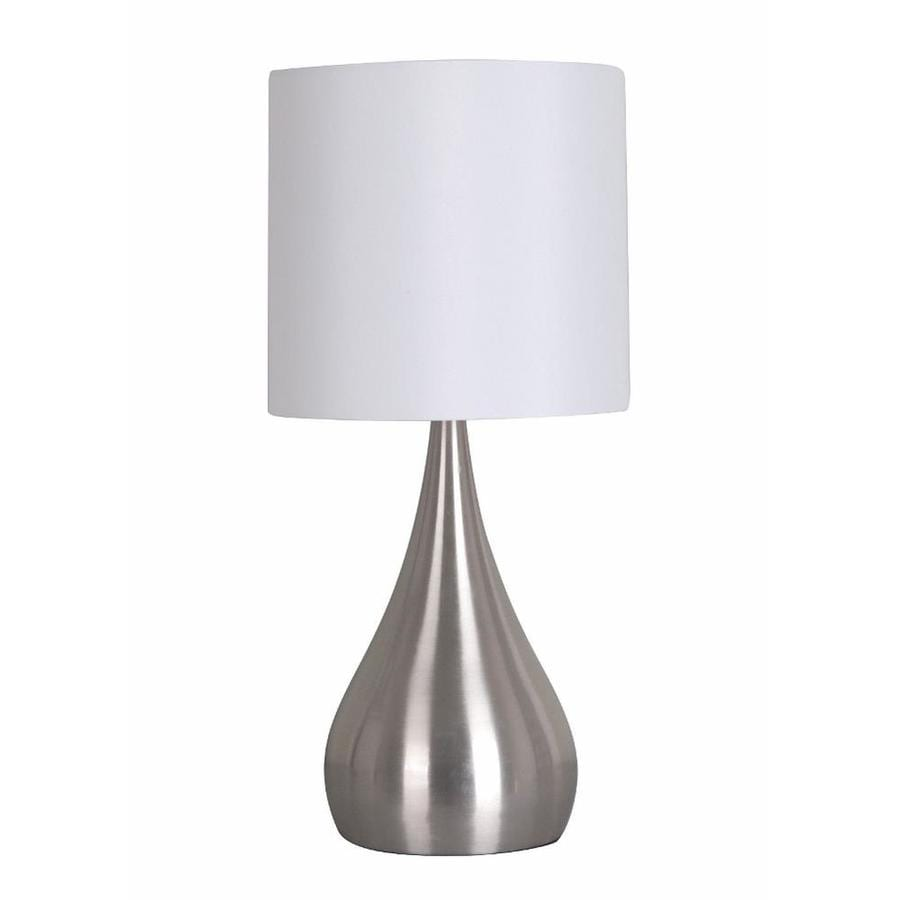 Catalina 18-in Brushed Steel Buffet Table Lamp with Fabric Shade
