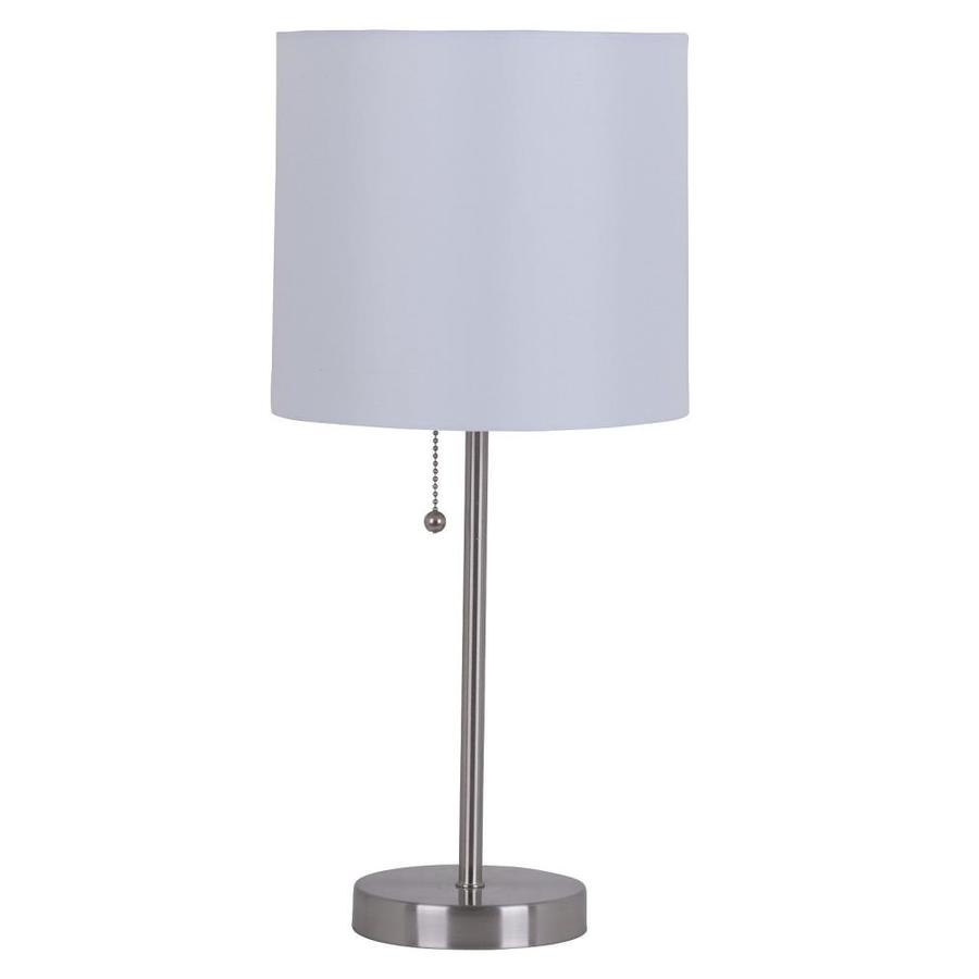 Catalina 19-in Brushed Steel Stick Table Lamp with Linen Shade