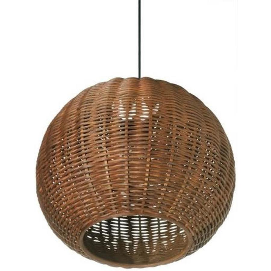 Allen Roth Natural Rattan Farmhouse Globe Led Pendant Light In The Pendant Lighting Department At Lowes Com
