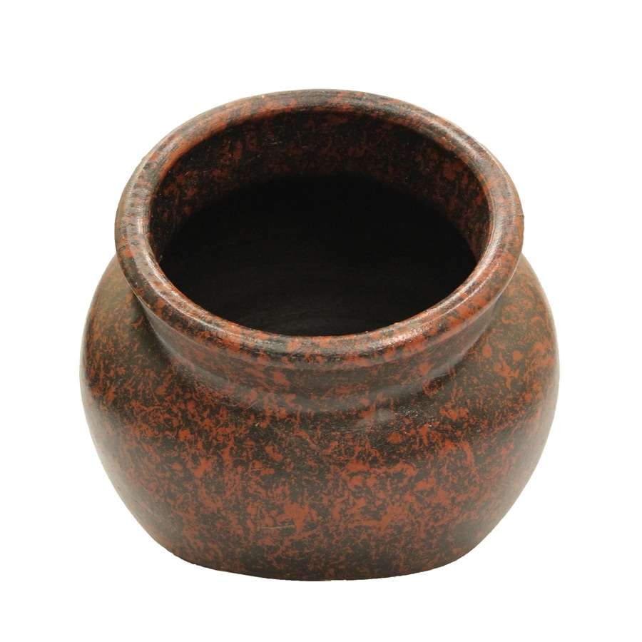 14-in x 12-in Antique Brown Clay Planter