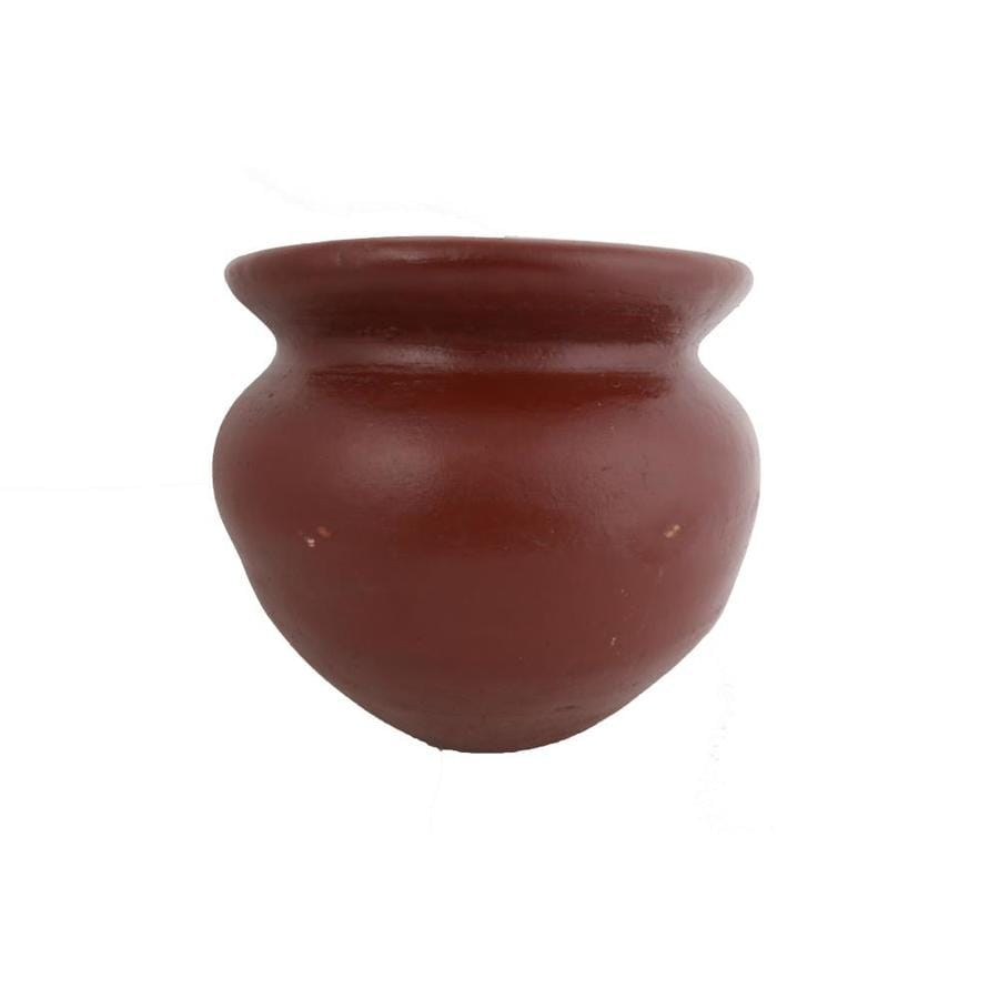 13.5-in x 10.5-in Antique Brown Clay Planter