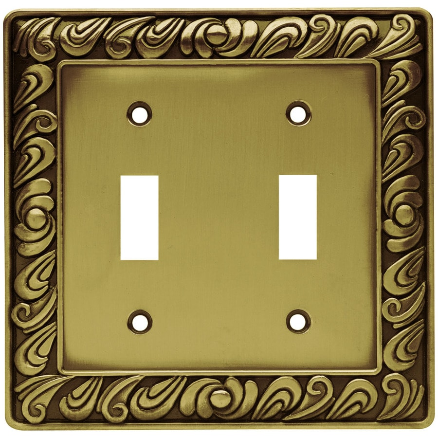 Brainerd 2-Gang Tumbled Antique Brass Toggle Wall Plate