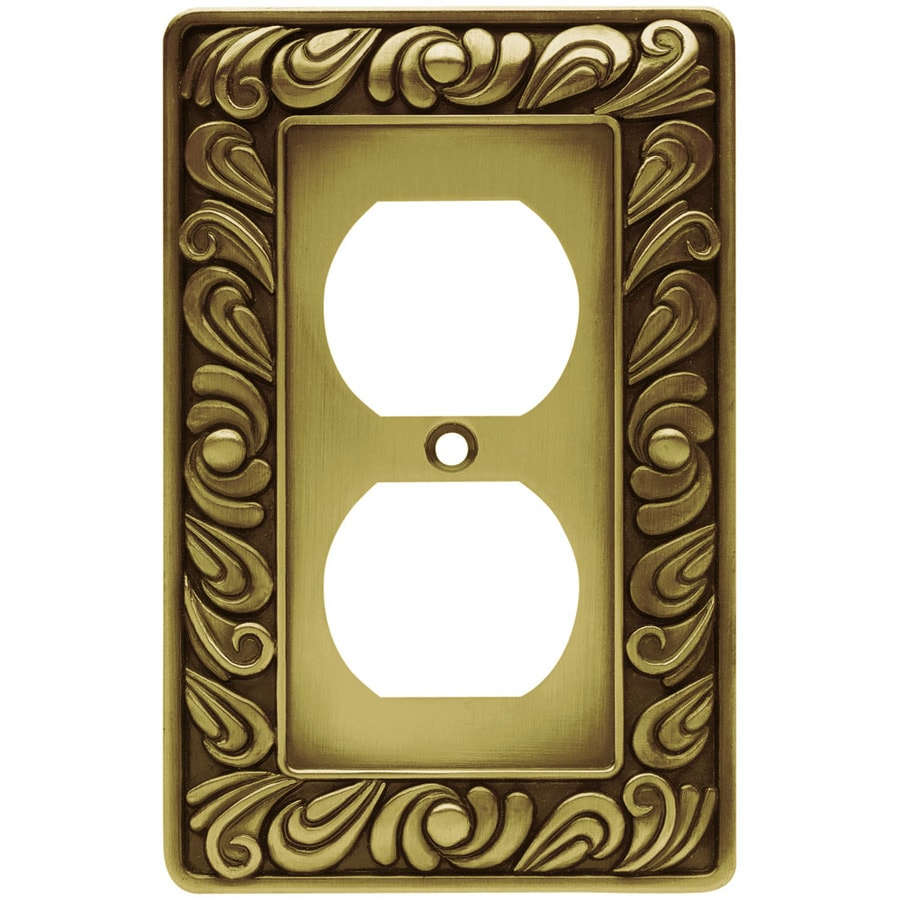 Brainerd 1-Gang Tumbled Antique Brass Round Wall Plate