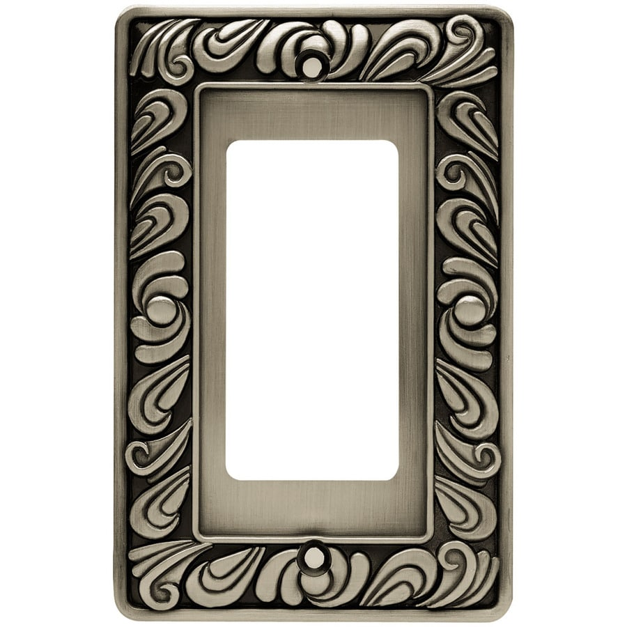 Brainerd 1-Gang Brushed Satin Pewter Decorator Wall Plate
