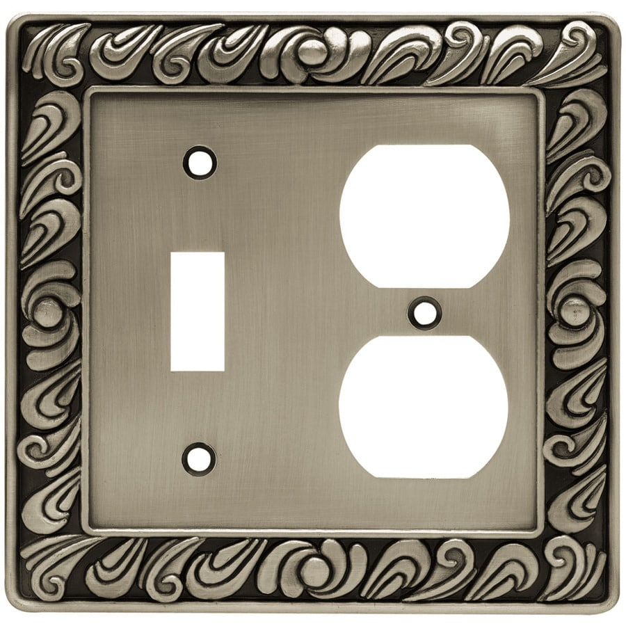 Brainerd 2-Gang Brushed Satin Pewter Round Wall Plate