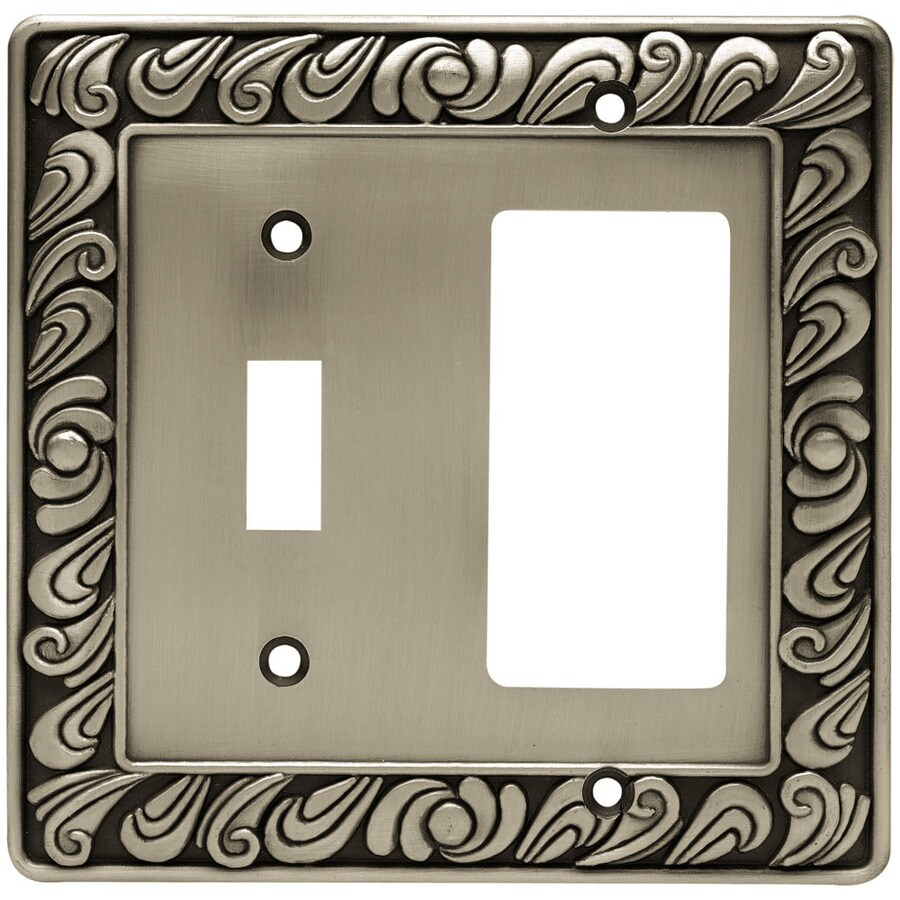 Brainerd 2-Gang Brushed Satin Pewter Double Decorator Wall Plate