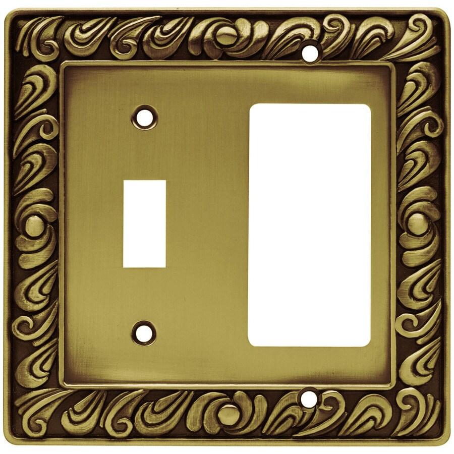 Brainerd 2-Gang Tumbled Antique Brass Decorator Wall Plate