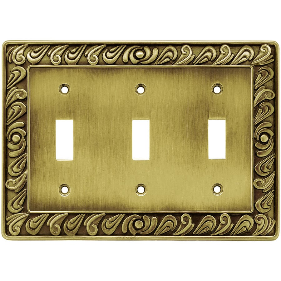 Brainerd 1 3 Tumbled Antique Brass Triple Toggle