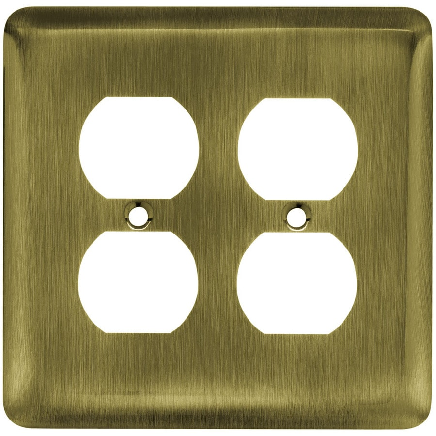 Brainerd Stamped Round 2-Gang Antique Brass Double Round Wall Plate